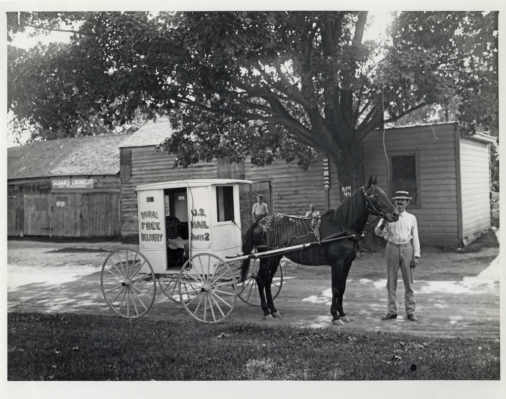 An unidentified rural carrier poses with his horse and wagon, Circa 1905. Image source:  Rural Carrier with Horse and Wagon  (also  Flicker Commons ) by unknown photographer; from  Smithsonian Institution, National Postal Museum ; has  no known copyright restrictions , fair  use