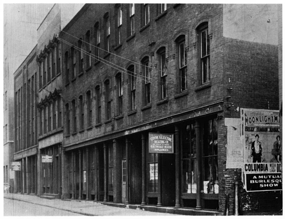 First home of the Cleveland Press on Frankfort Street, Cleveland, Ohio. Paper originally began in 1878 as Penny Press. Image source:  Cleveland Press, first home, Frankfort Steet, Cleveland, Ohio, ca. 1878  by unknown photographer is from the   E.W. Scripps Papers  at the  Ohio University Libraries  and is in the public domain.
