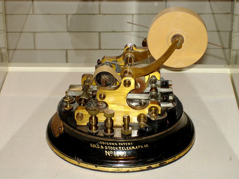 Thomas Edison Gold & Stock Telegraph, Henry Ford Museum, Dearborn, MI. Image source:  Edison Stock Telegraph Ticker.jpg  by H. Zimmer is licensed under  CC BY 3.0