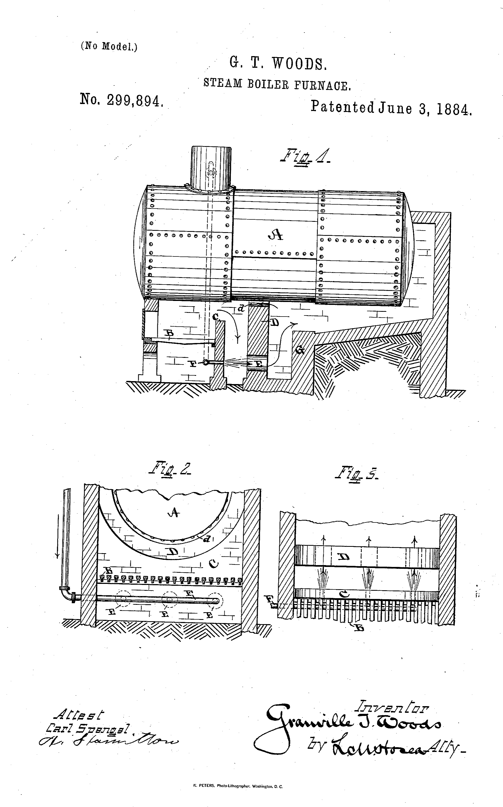 Steam Boiler Furnace, US patent 299894, Granville T. Woods' first patent, 1884. Image source:  Patent #: US000299894  accessed from  United States Patent and Trademark Office  is licensed under  Public Domain Mark 1.0