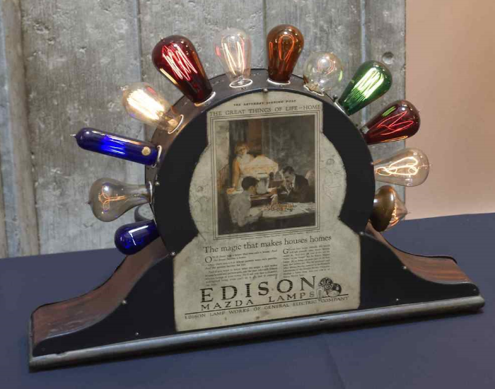 Edison Mazda Lamps. Thomas Alva Edison statue unveiling ceremony, Ohio Statehouse Rotunda, May 20, 2015. Image source:  The Ohio Academy of Science .