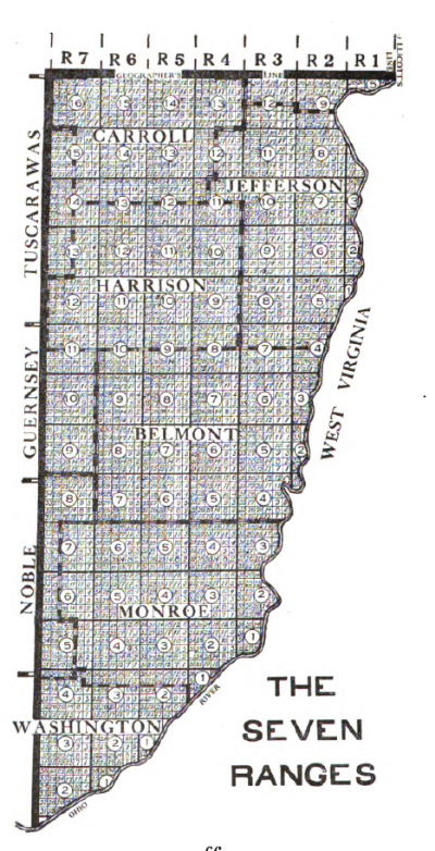The tract of land in Ohio called the Seven Ranges. Image source:  Seven Ranges.png  (derived from Peters, William E. (1918)  Ohio Lands and Their Subdivision , pp. 66) by William E. Peters is licensed under  Public Domain Mark 1.0