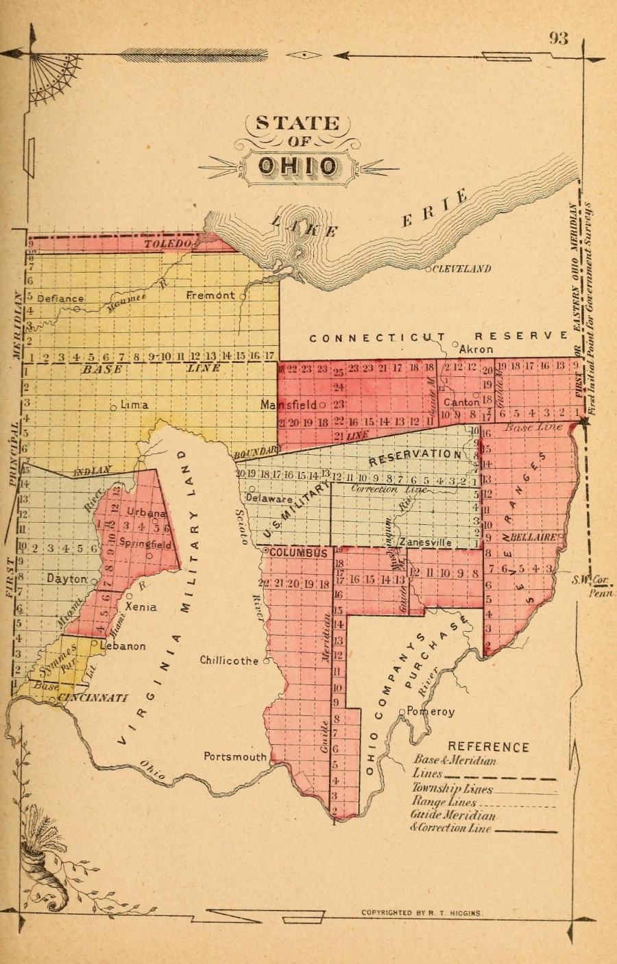 Ohio State Map References, 1887. Image source:  Subdivisions of the Public Lands ,1887,  p. 93 (derived from  Library of Congress ) by Jerome S. Higgins is licensed under  Public Domain Mark 1.0