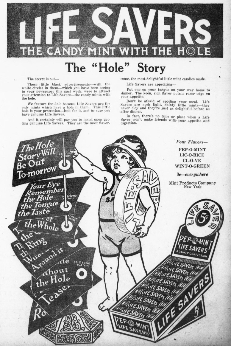 """The """"Hole"""" Story: newspaper advisement for Life Savers candy, 1917.  Image source:   Evening public ledger.  (Philadelphia [PA.]), 16 Oct. 1917, Final, Page 7  (derived from Chronicling America: Historic American Newspapers,  Library of Congress ) is licensed under  Public Domain Mark 1.0"""