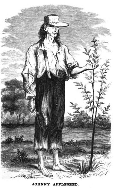 "Drawing of Jonathan Chapman, aka Johnny Appleseed. Image source:  Johnny Appleseed 1.jpg  (reprinted from Knapp, H. S.   A History of the Pioneer and Modern Times of Ashland County  . Philadelphia: J. B. Lippincott & Co, 1862, frontispiece (which bears a ""digitized by Google"" label)) by H. S. Knapp is licensed under  Public Domain Mark 1.0"
