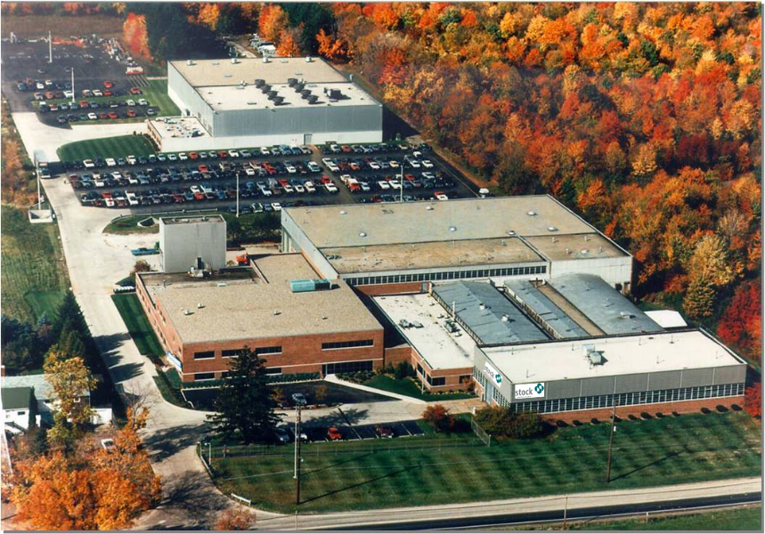 Aerial image of Stock Equipment Company, Chagrin Falls, Ohio. Image source:  Stock Equipment Company , Chagrin Falls, Ohio, used with permission