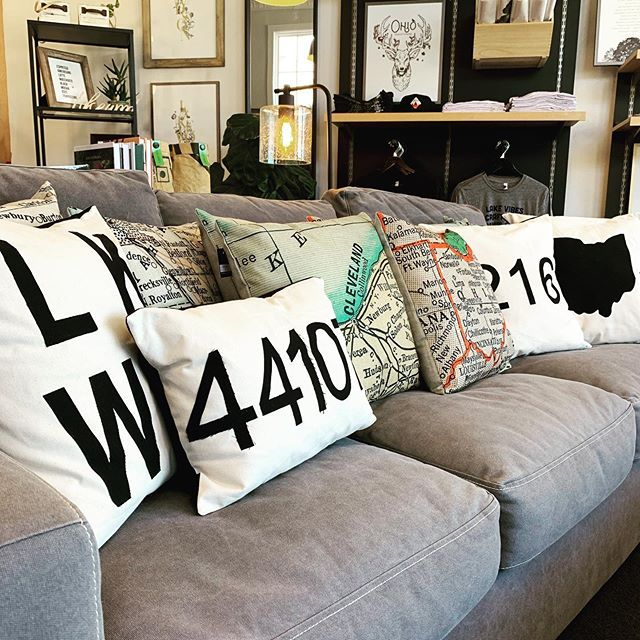 Friday shop vibes. Don't get lost, Ohio map pillows restocked at the shop! . . . #friday #findyourplace #ohio #maps #pillow