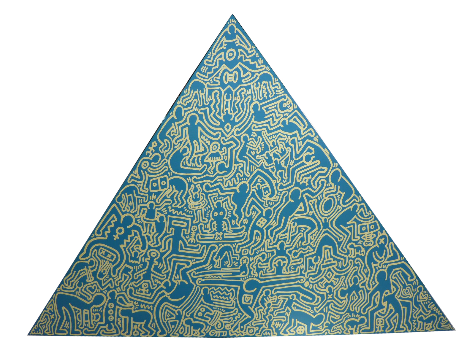 Screenprint on anodized aluminum called Pyramid (blue) by Keith Haring