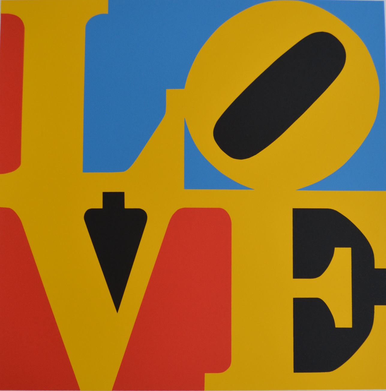 edition print by Robert Indiana titled Book of Love #6 (Blue, yellow, black, red - four color love)
