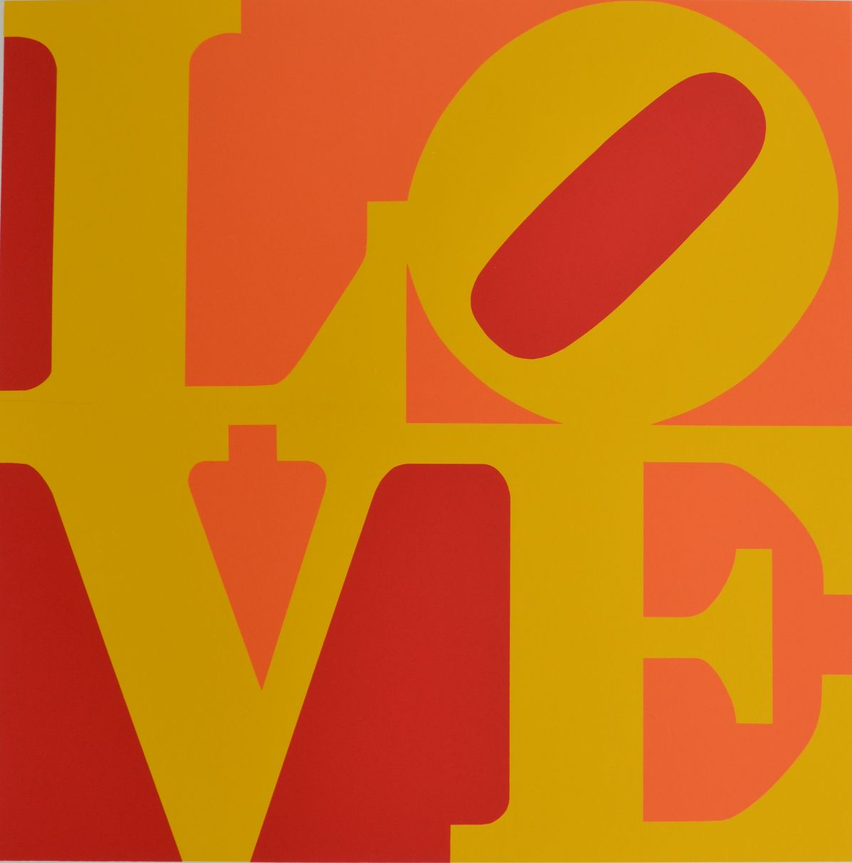 Screenprint tilted, Book of Love #10 (Red, orange, and yellow - french love) by Robert Indiana