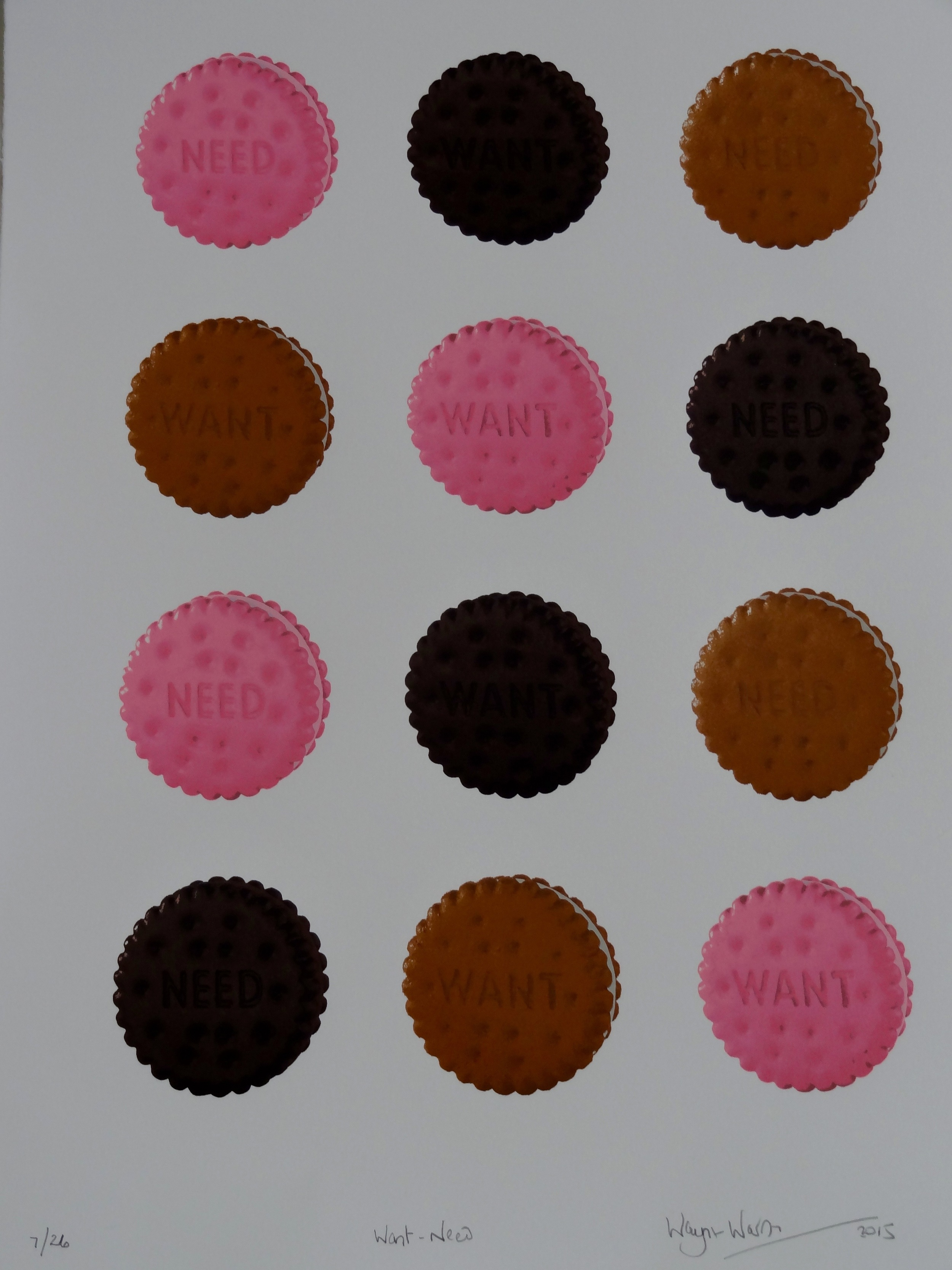 Mixed media screenprint of colorful biscuits