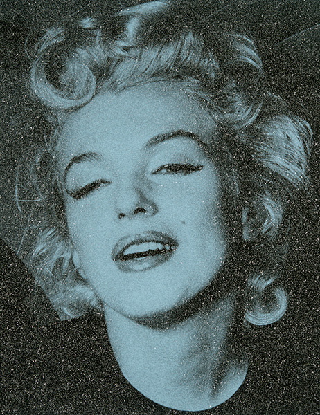 Acrylic and enamel screenprint on linen with diamond dust portrait of Marilyn Monroe by Russell Young