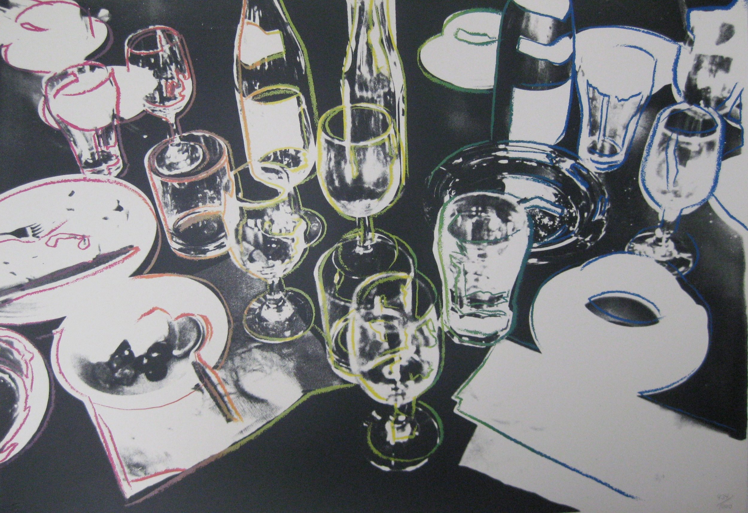 Screenprint in colors on Museum Board of partyware by Andy Wahrol titled  After The Party