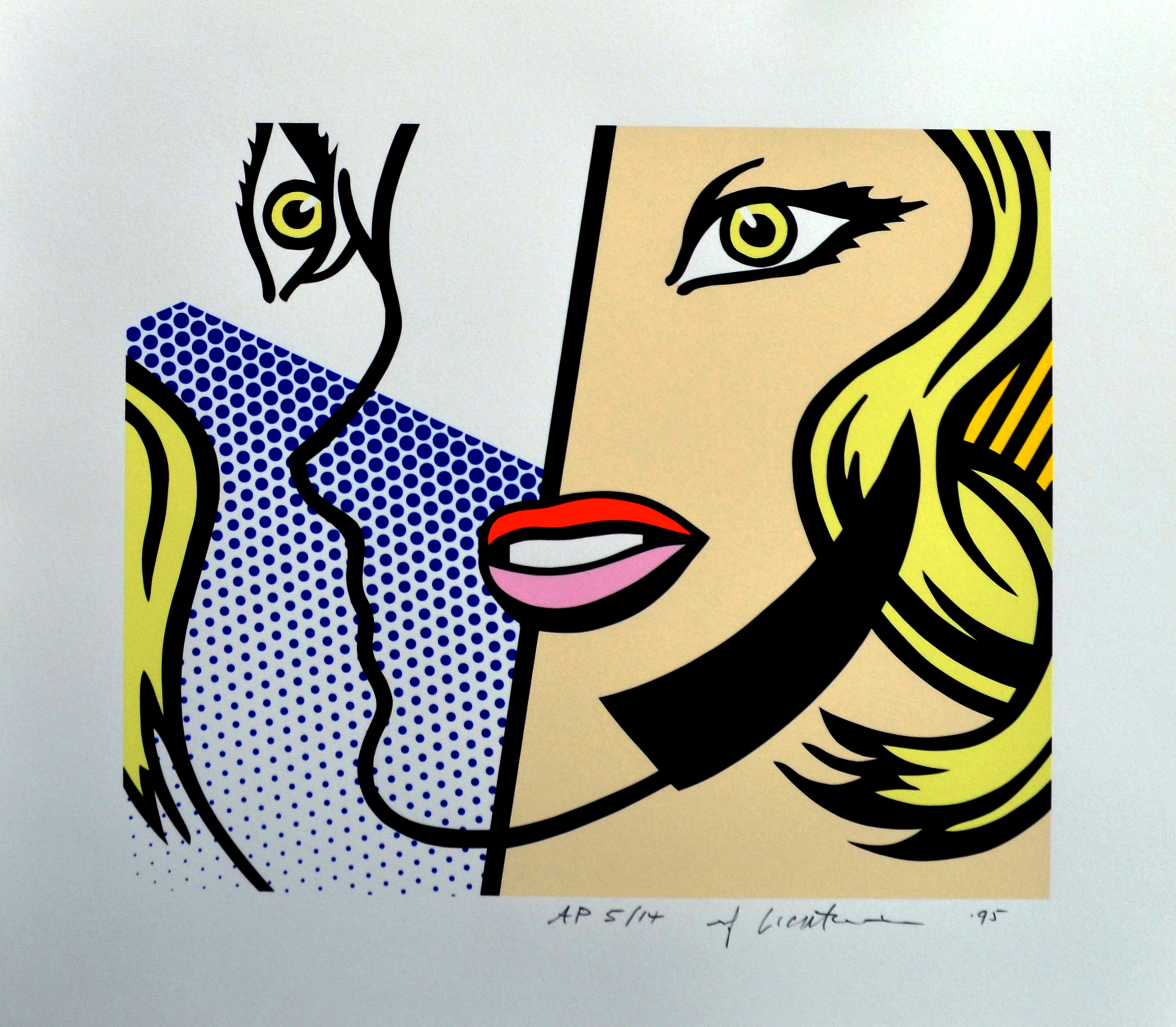 Screenprint on Lanaquarelle watercolor paper titled  Untitled Head  by roy lichtenstein