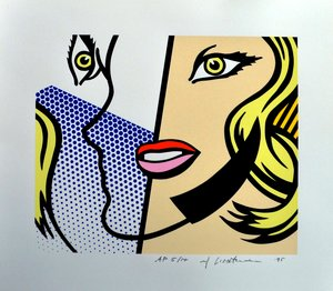 Screenprint on Lanaquarelle paper titled  Untitled Head  by Roy Lichtenstein