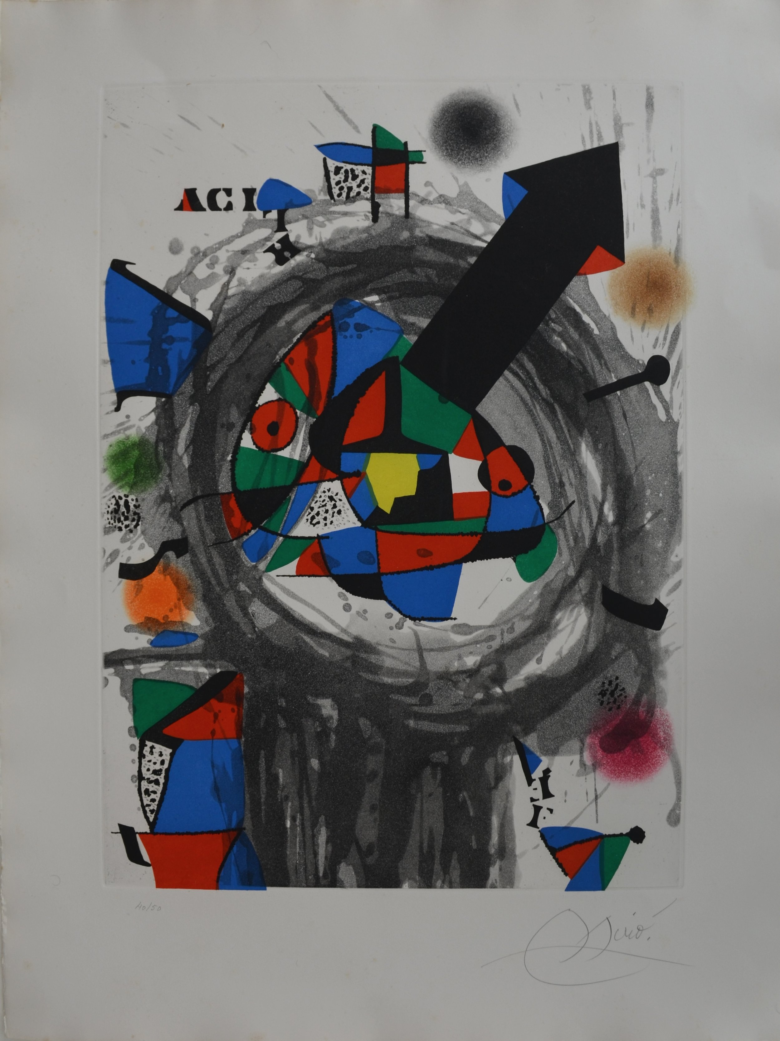 Color wash, etching and aquatint titled  Personnage a la Fleche Noire  by Joan Miró