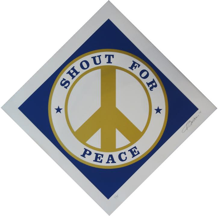 edition print by Robert Indiana titled Shout for Peace (Blue and Gold)