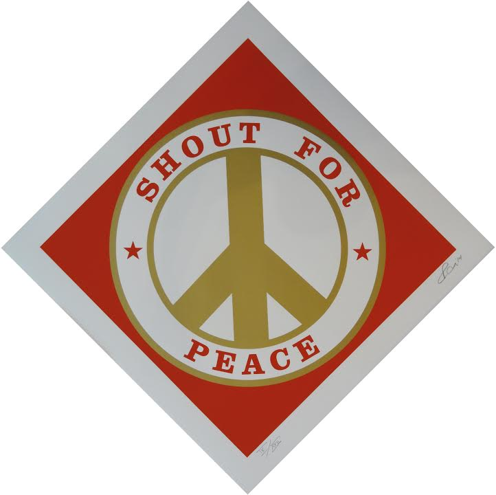 Silkscreen print in colors, in coventry rag 320 titled Shout for Peace by Robert Indiana