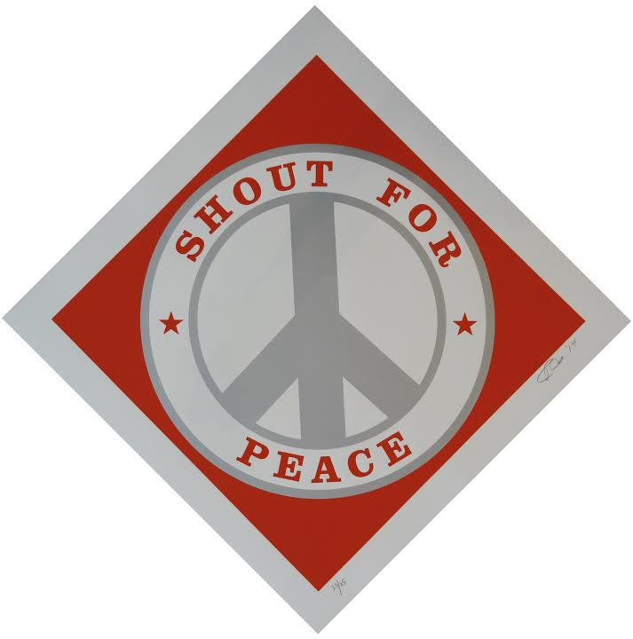 Silkscreen print in colors, in coventry rag 320 titled Shout for Peace (Red and Silver) by Robert Indiana