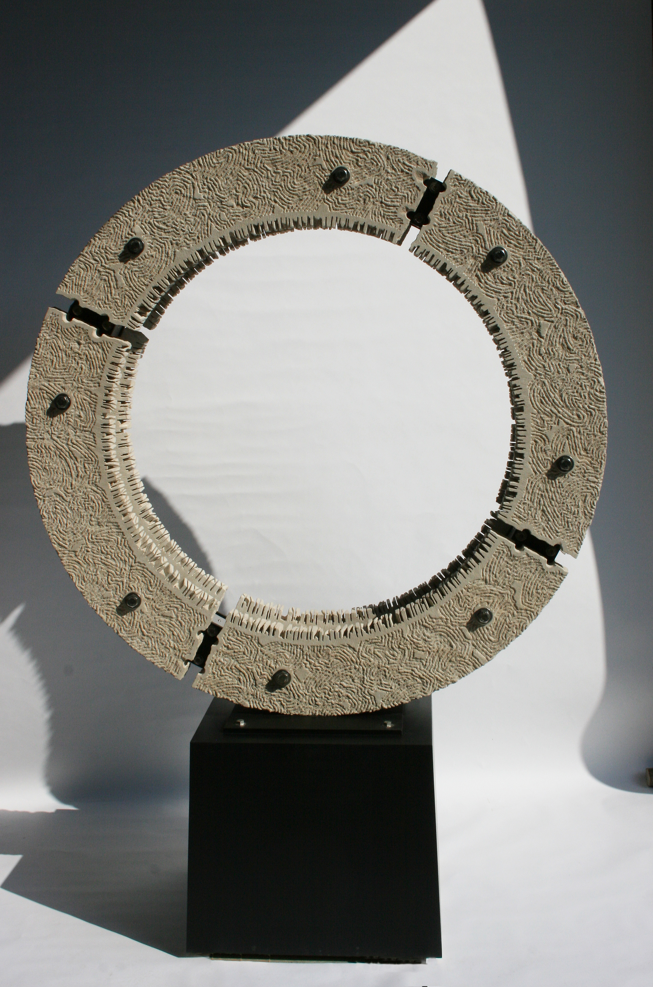 Limestone and LED sculpture by Dale Enochs