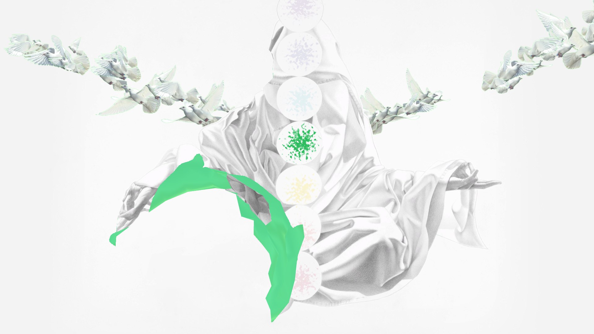 Digital animation art created by Constance Edwards Scopelitis, featured is the green shockra