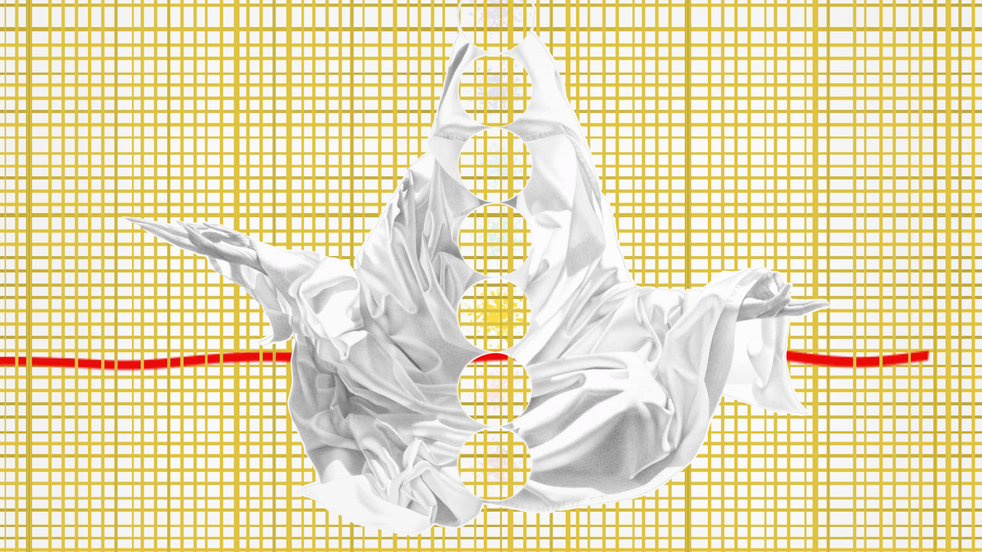 Digital animation art created by Constance Edwards Scopelitis, featured is the yellow chakra