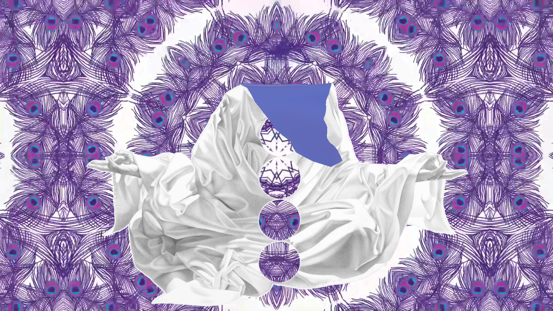 Digital animation art created by Constance Edwards Scopelitis, feauted is the purple chakra