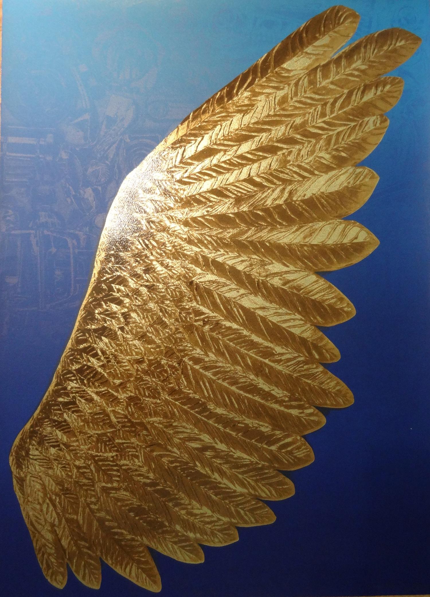Screenprint on paper of a gold wing titled  Aspiration  by Wayne Warren
