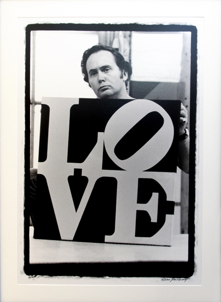 portrait of robert indiana holding love, photography by William John Kennedy