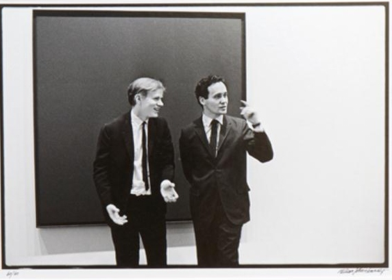 Silver gelatin fiber print by William John Kennedy, titled Andy Warhol and Robert Indiana