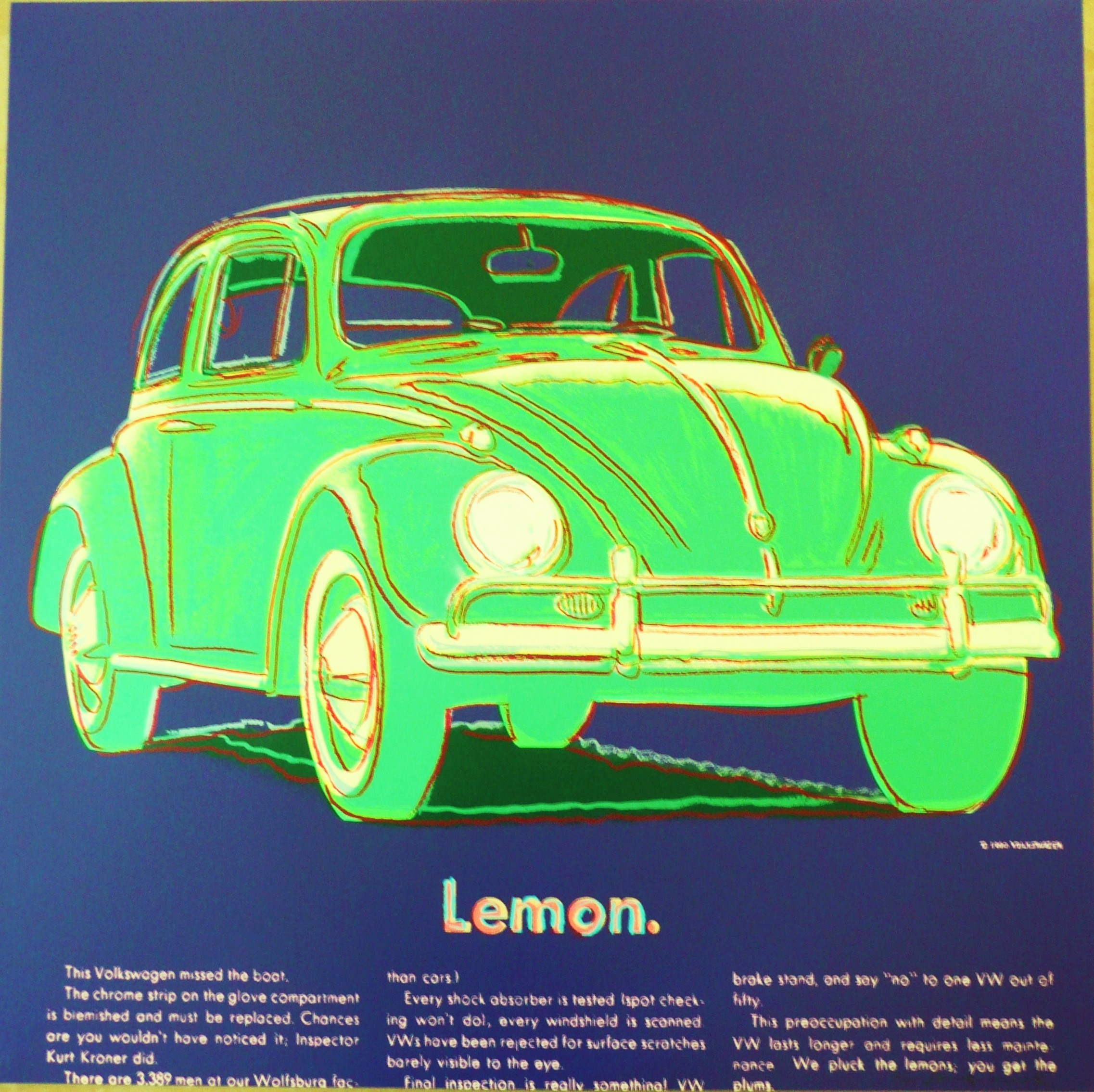 screenprint on Lenox Museum Board of a Volkswagen by Andy Warhol titled  Volkswagen (from Ads)