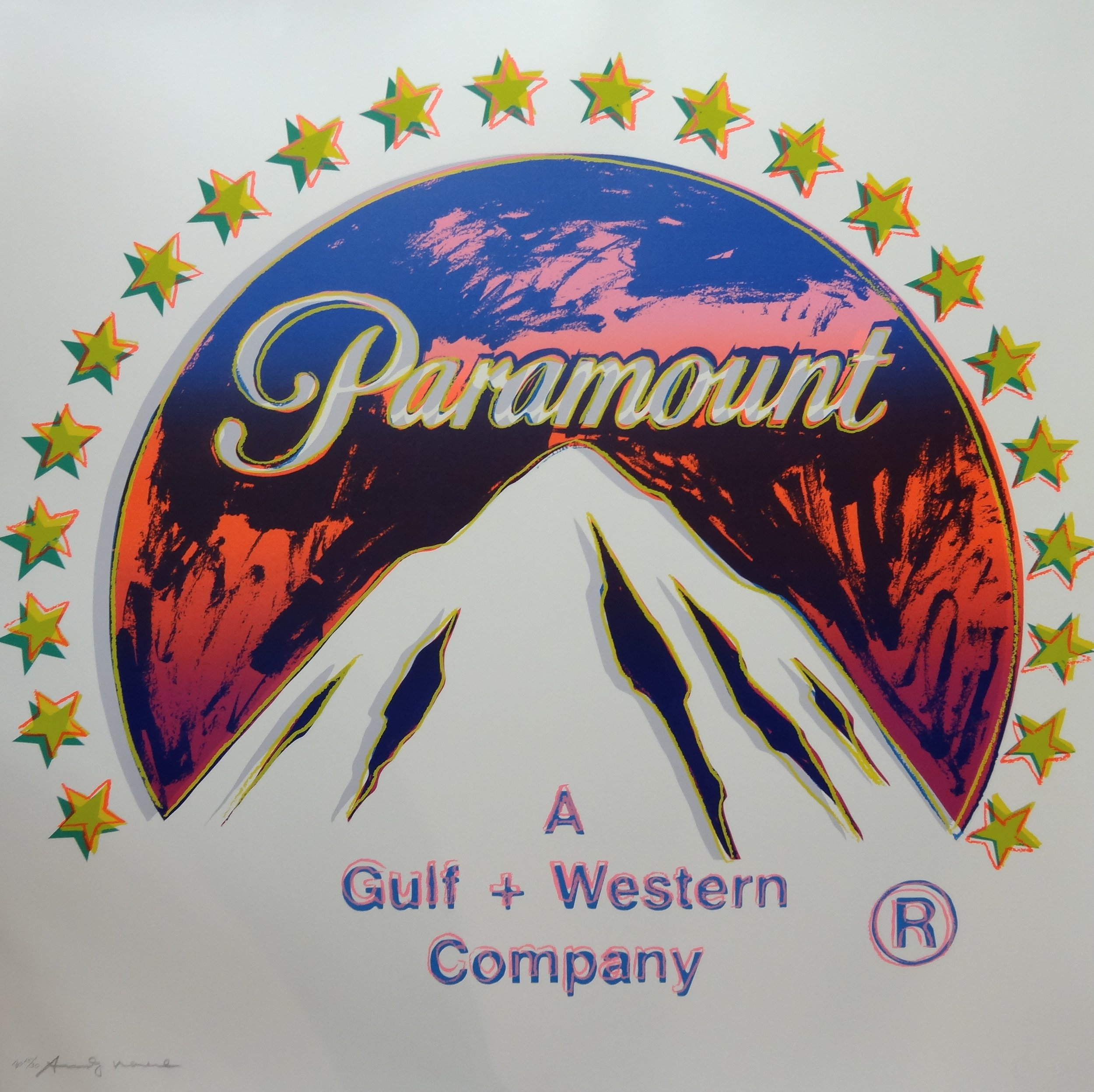 Screenprint on Lenox Museum Board of Paramount logo by Andy Warhol titled,  Paramount (from Ads)