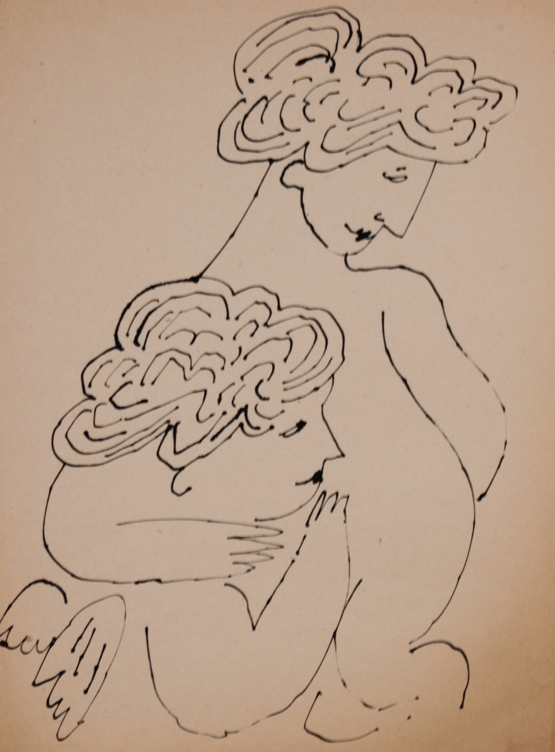 original china ink drawing on paper of two cherubs embracing by Andy Warhol