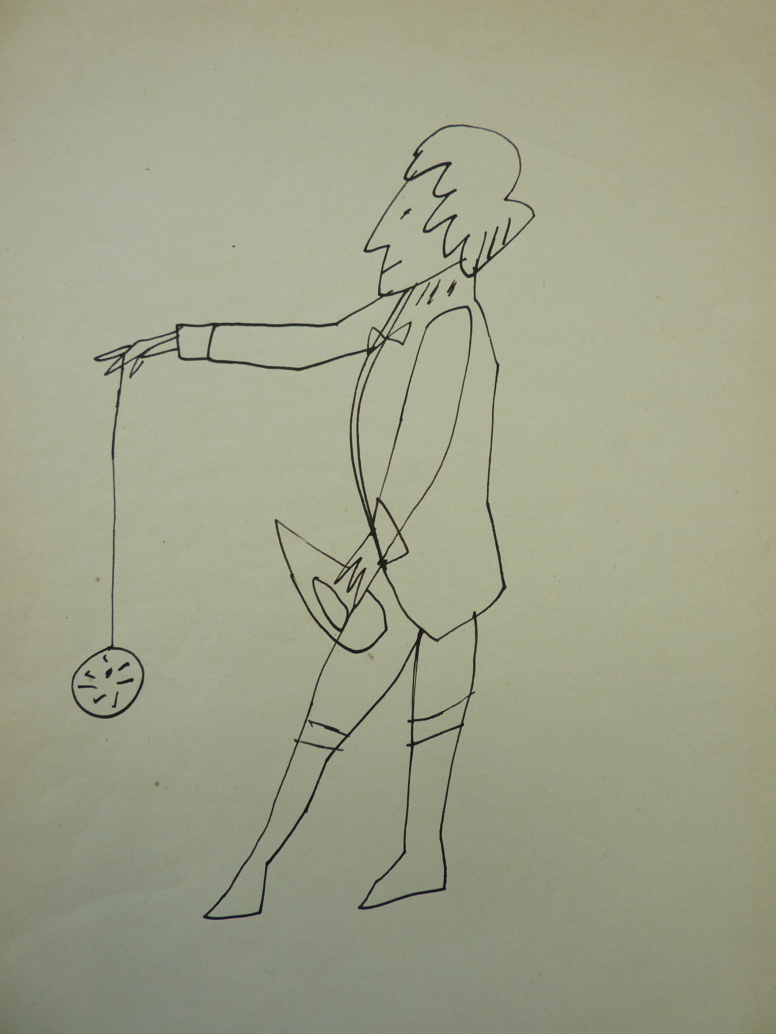original china ink drawing on paper of man standing with yo-yo by Andy warhol
