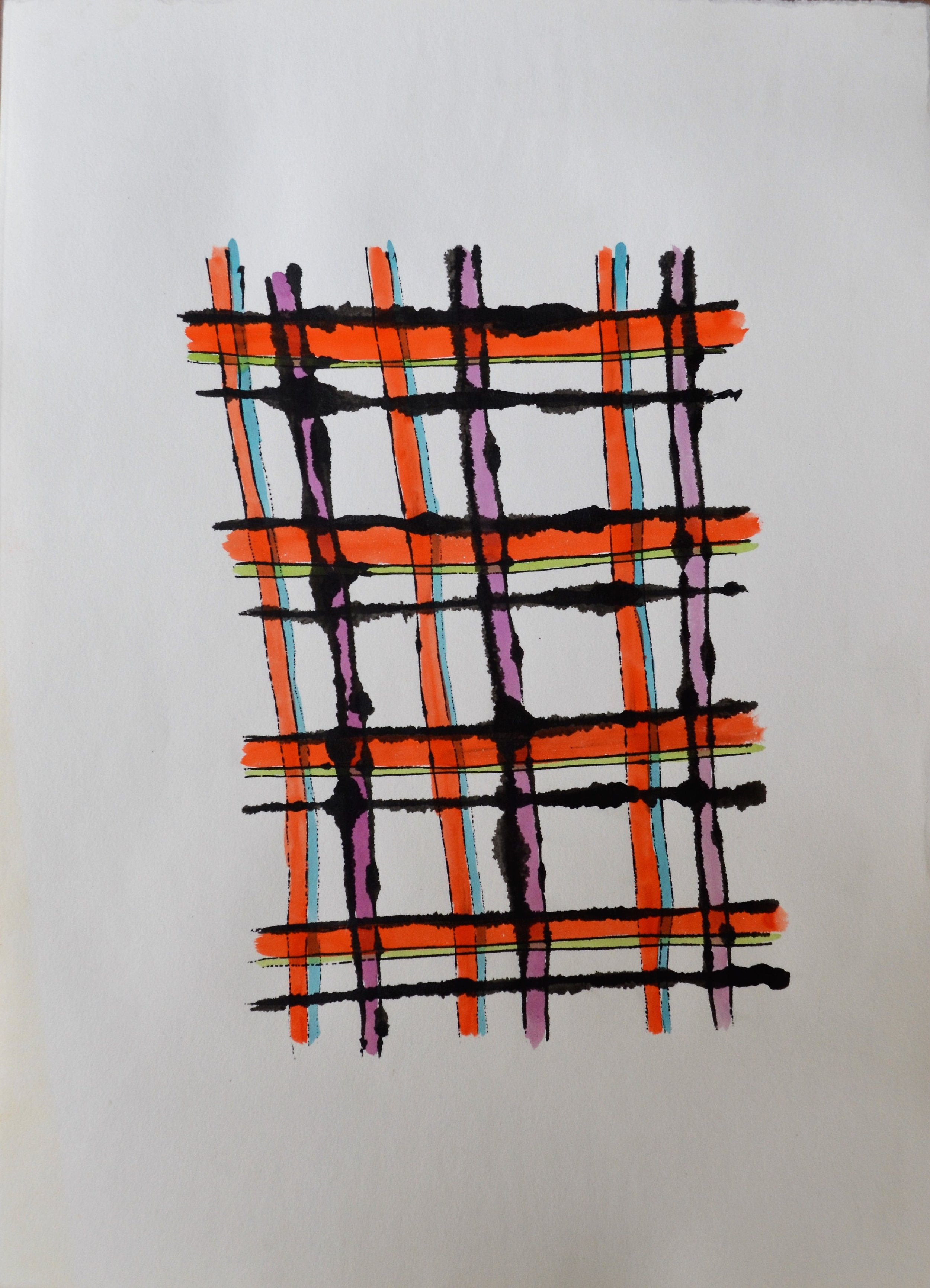 ink and tempera work on paper of orange, black, light blue and purple patterns by Andy Warhol