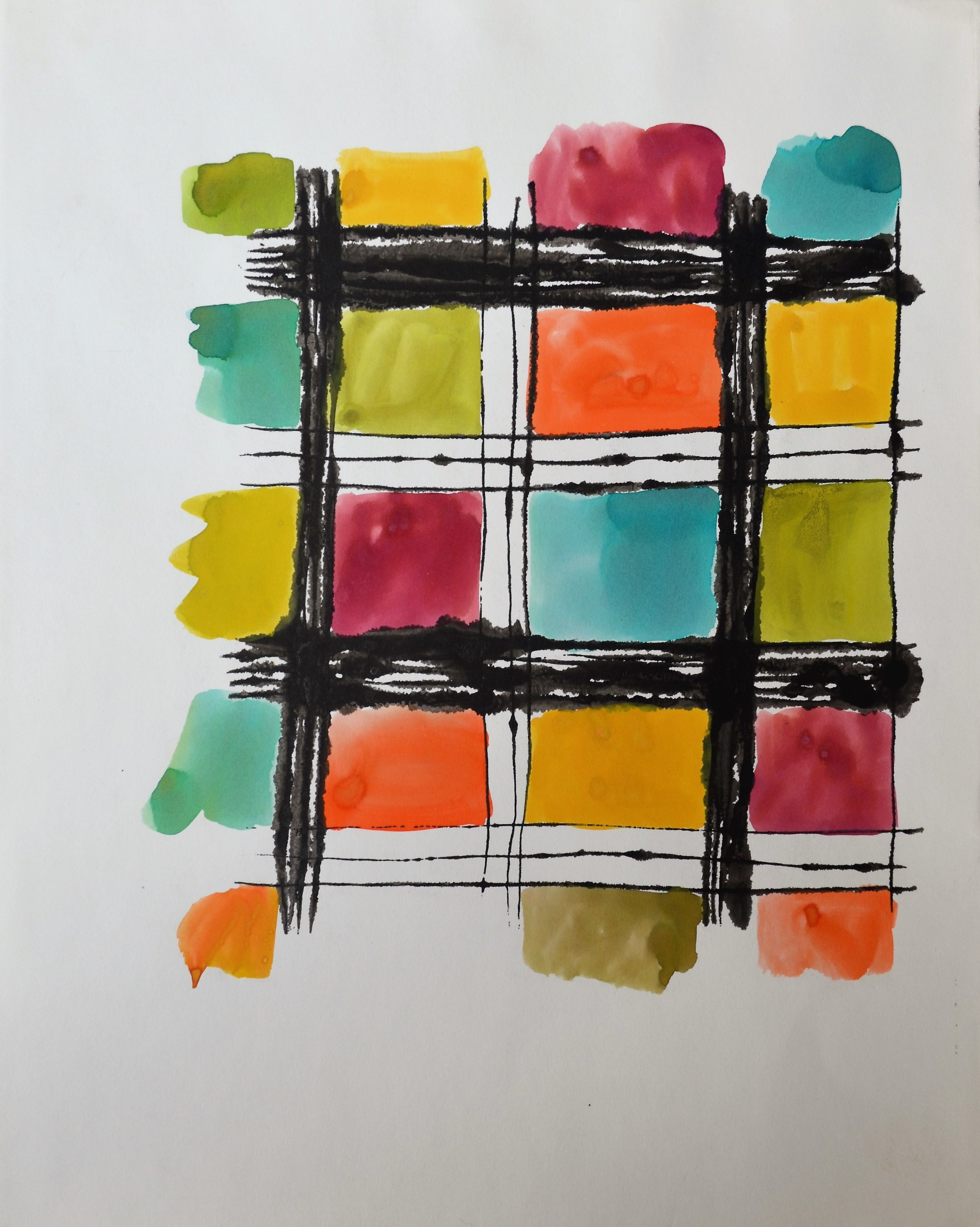 ink and tempera on paper of black lines by andy warhol