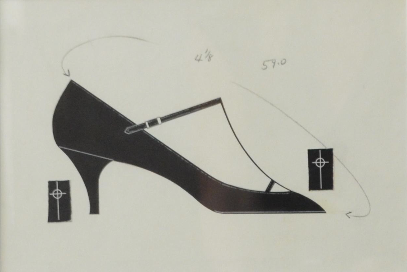 ink, tempera and paper collage on paper of shoe by Andy Warhol