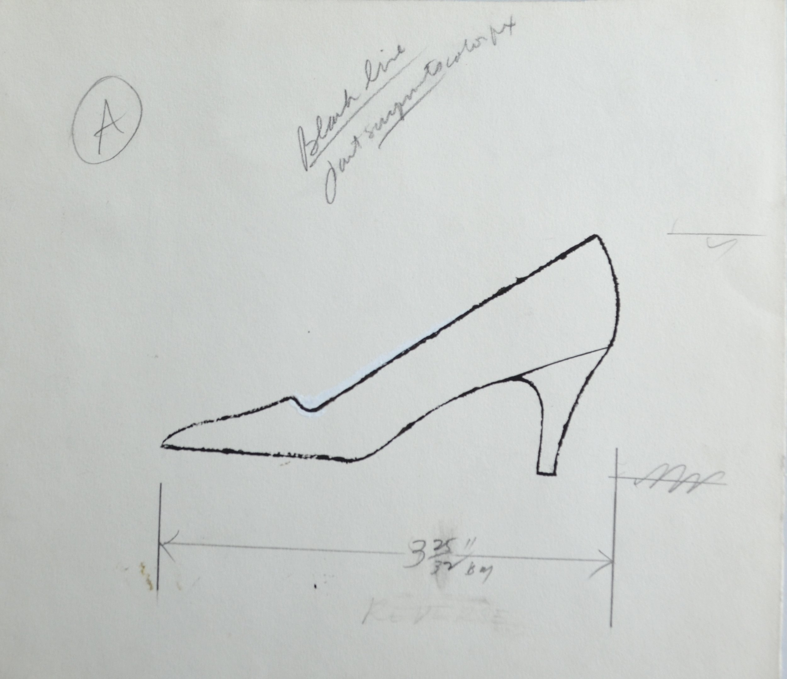 ink and graphite work on paper of a shoe with measurements by Andy Warhol