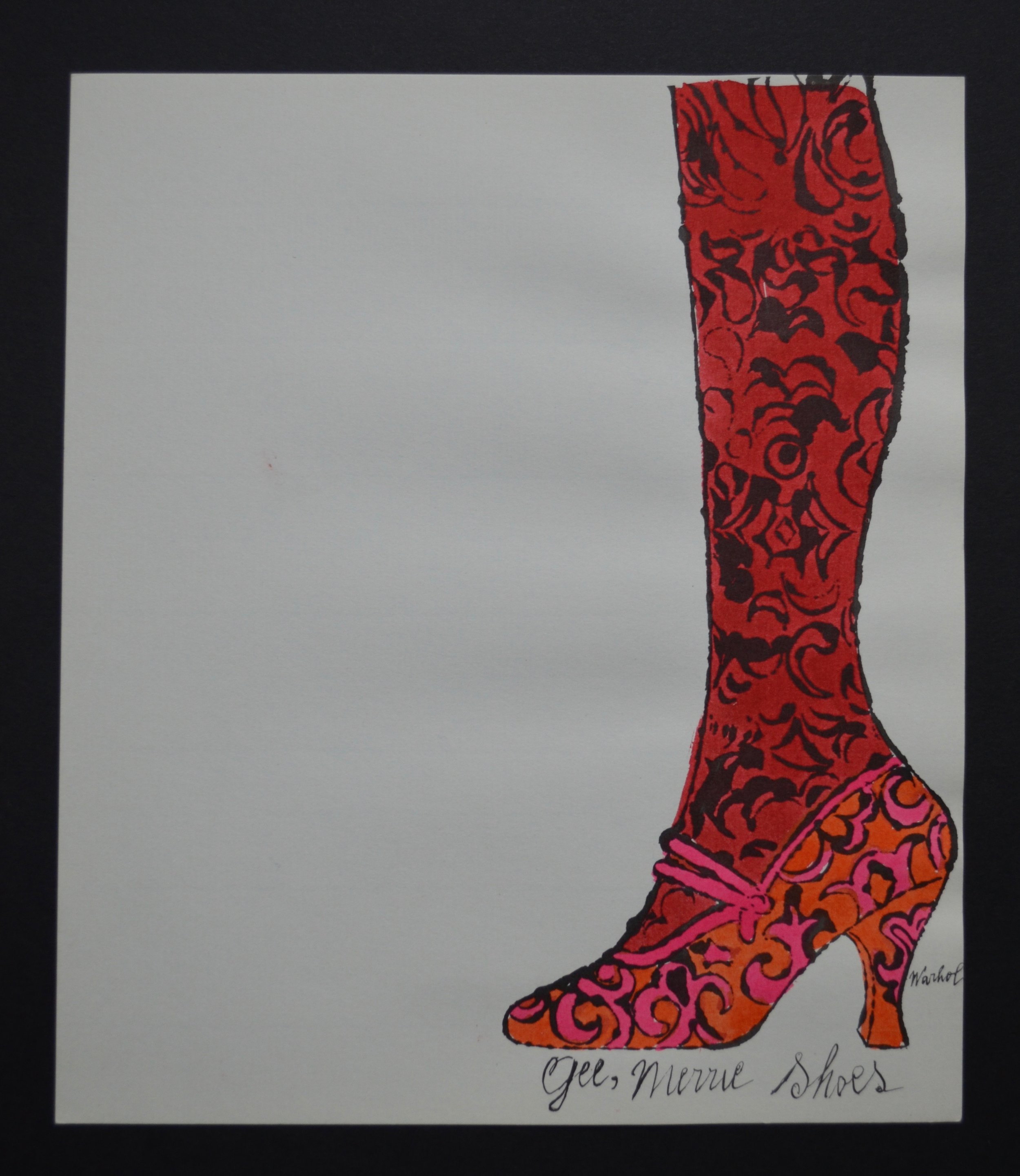 offset lithograph with hand coloring of a shoe with stocking by Andy Warhol, titled  Gee Merrie Shoe