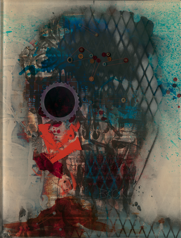 Godsize #3,  a mixed media work with resin on panel by Jason Myers