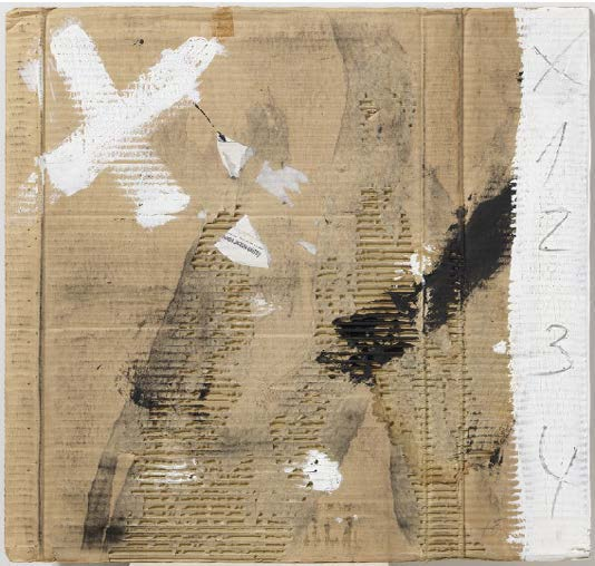 a work of paint, pencil, collage, and frottage on cardboard titled  Untitled  by Antoni Tàpies