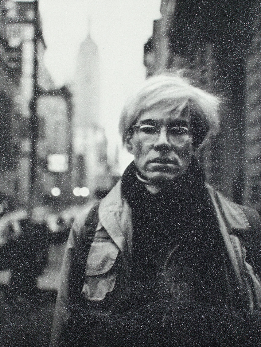 Acrylic and enamel screenprint on linen with diamond dust portrait of Andy Warhol by Russell Young