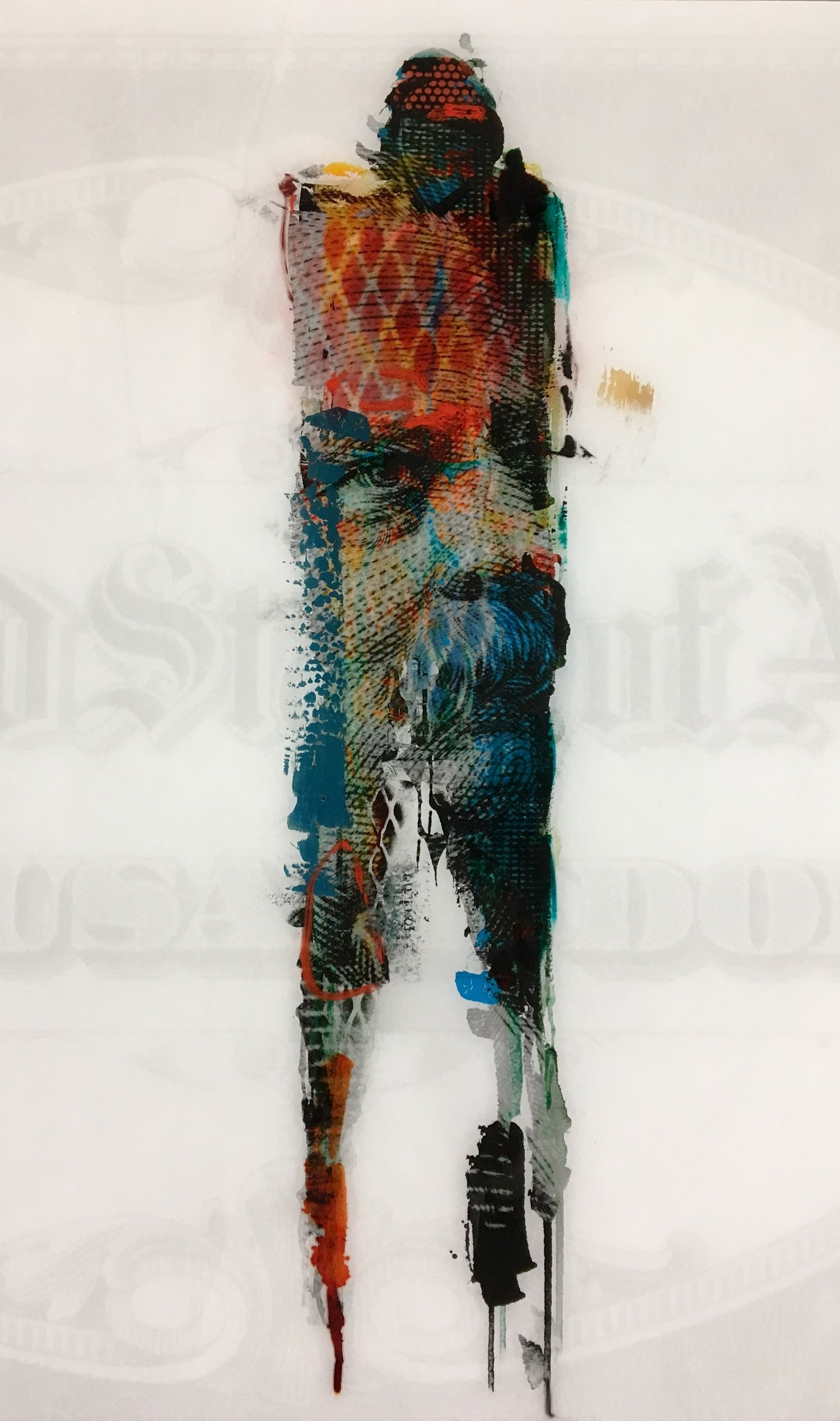 Mixed media and resin by Jason Myers,  In Whom We Trust $1000