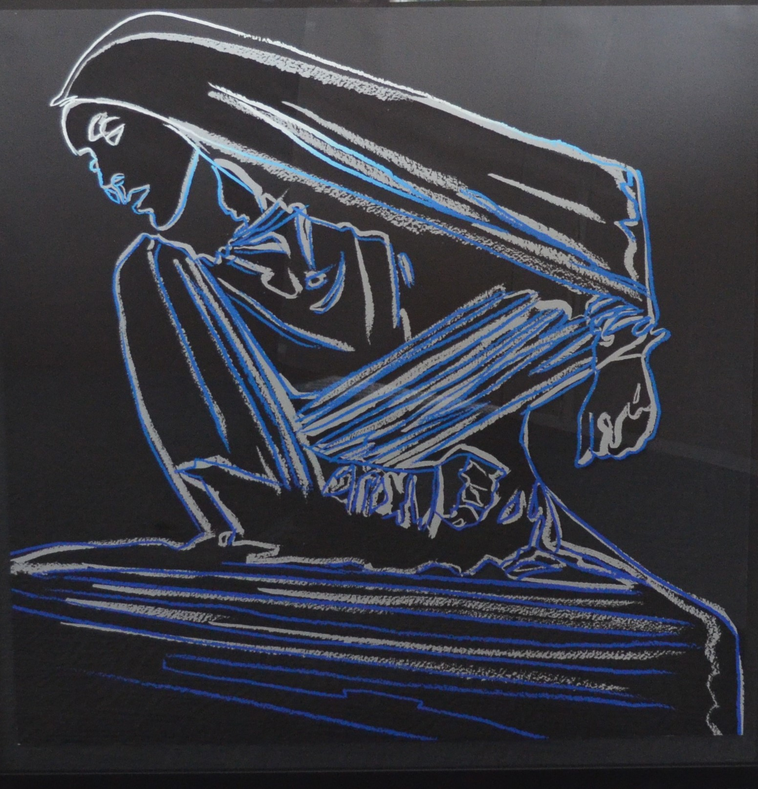 print by Andy Warhol, titled Lamentation, of a woman doing a dance move