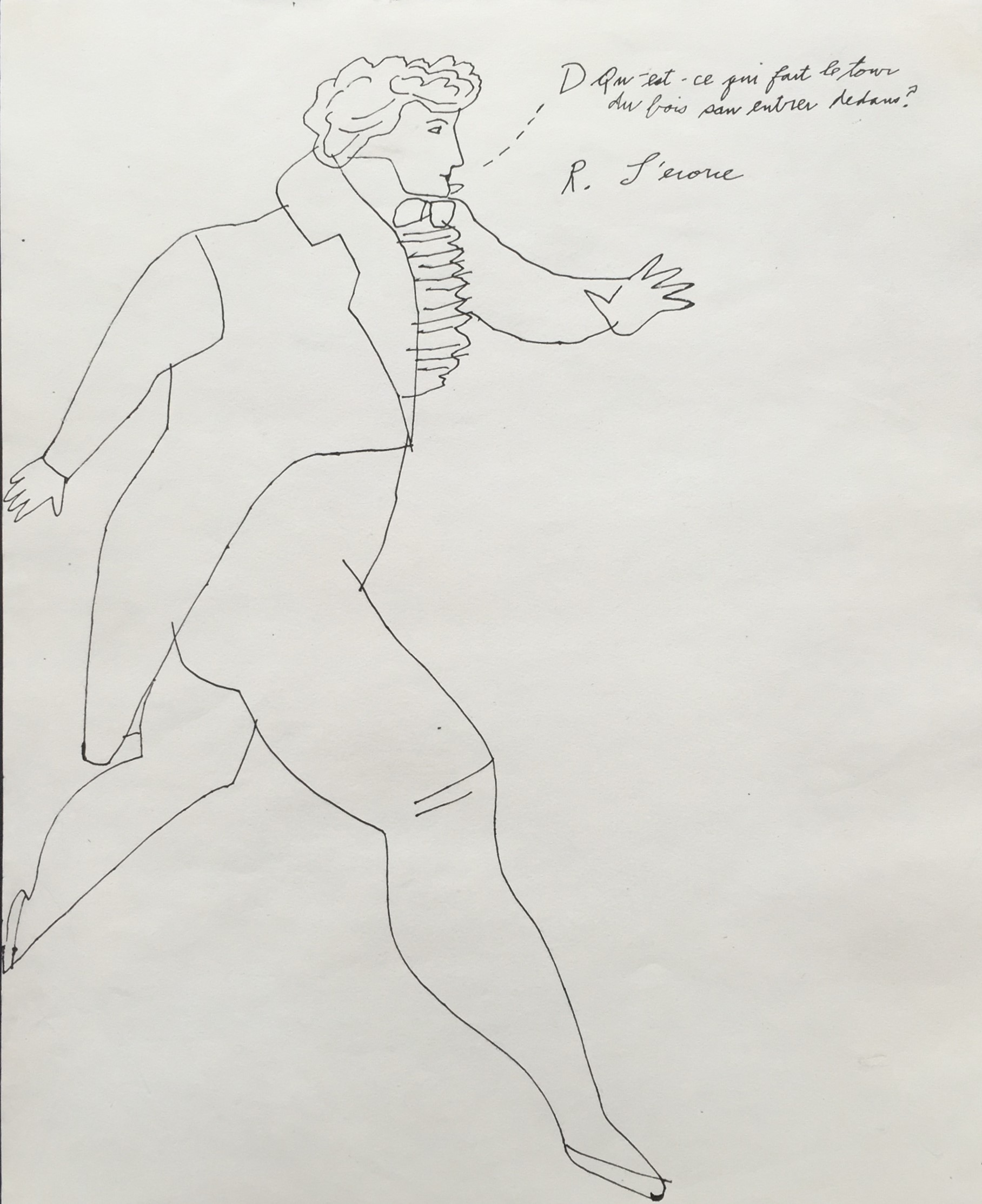 work on paper by andy warhol of a man walking with a text bubble