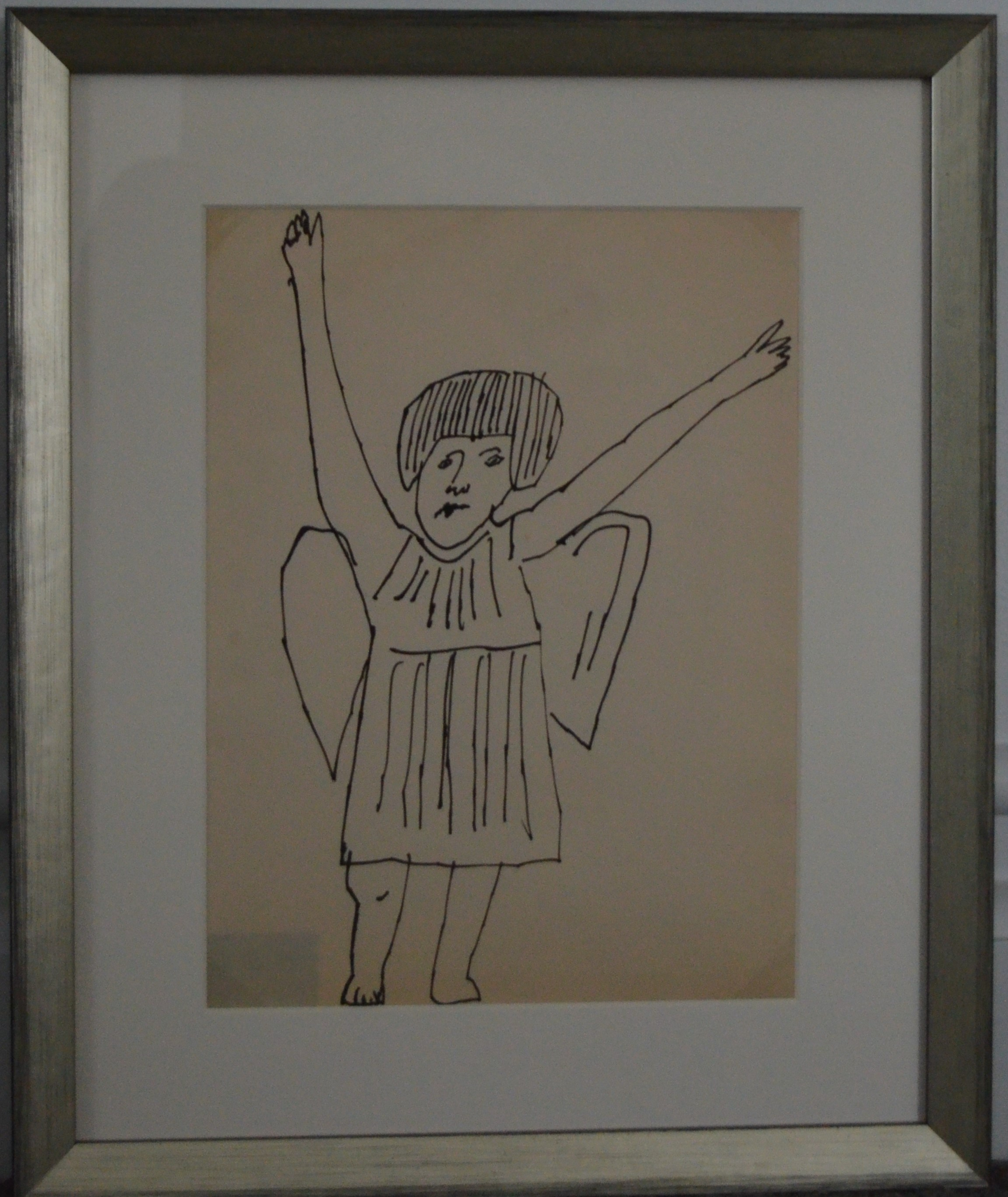 "Andy Warhol drawing on paper of ""Angel (Hands Raised"""