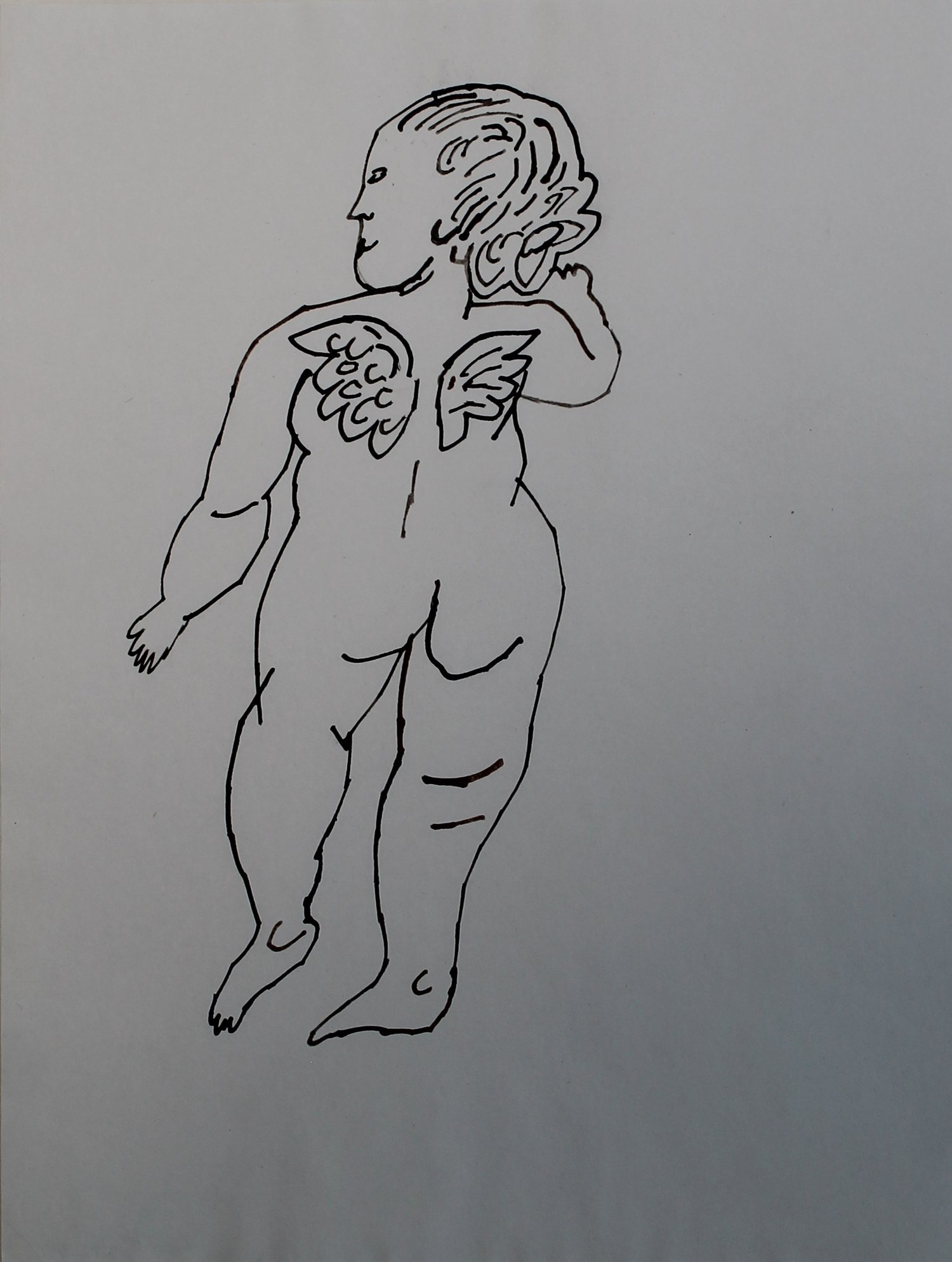 image of andy warhol work on paper of angel with tiny wings