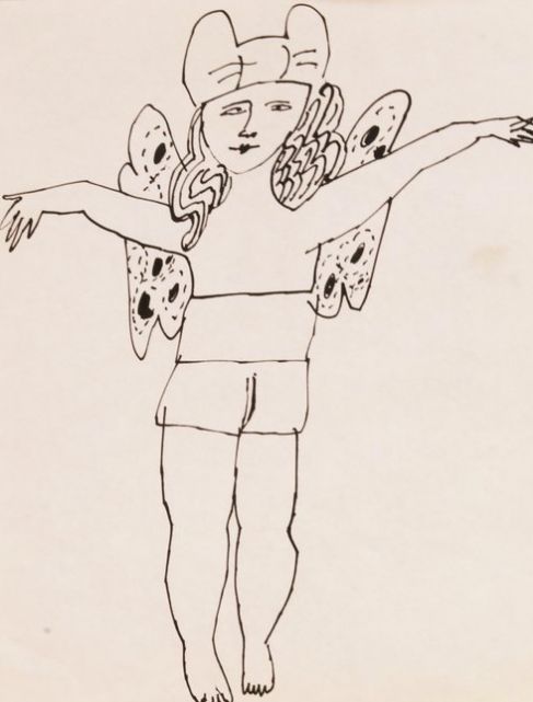 Andy Warhol drawing of Fairy Standing with arms outstretched