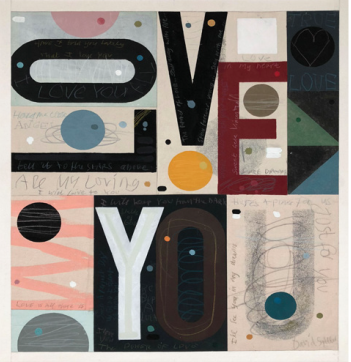 all my loving by david spiller; acrylic and pencil on stitched canvas