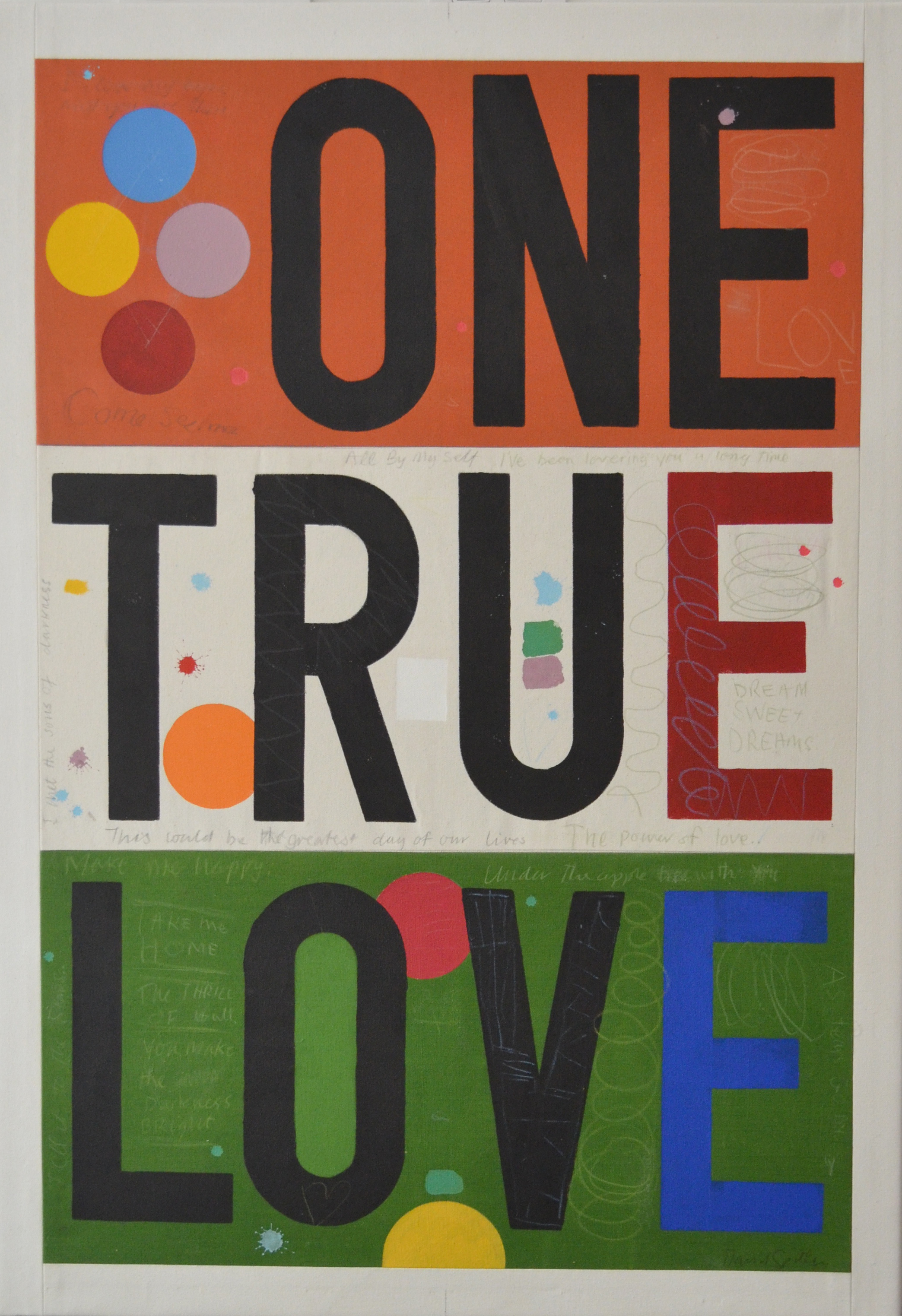 one true love by david spiller; acrylic and pencil on stitched canvas